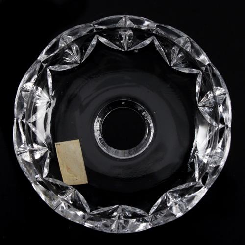 Bobeche coppa cristallo Boemia Ø10 cm, foro Ø20 mm, 5 fori laterali. Per restauro di lampadari antichi.