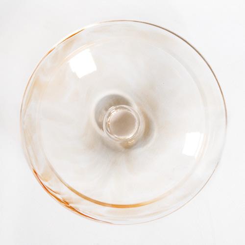 Bobeche piattino lampadari vintage in vetro ambra variegato,  Ø90 mm foro Ø10 mm.