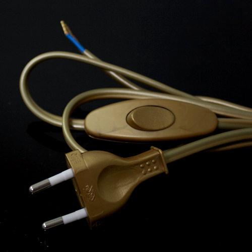 Cablaggio classe 2 con interruttore - 100 cm (spina) + 50 cm (attacco) - PVC colore oro.