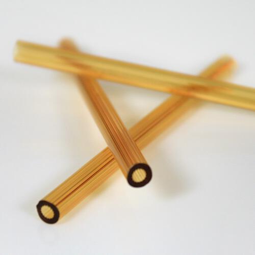 Cannetta in vetro color ambra lunghezza 8 cm Ø6 mm