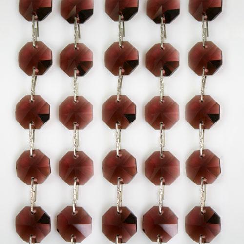 Catena ottagoni 14 mm in cristallo ametista, lunghezza 50 cm. Clip nickel.