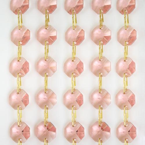 Catena ottagoni 14 mm in cristallo rosa antico, lunghezza 50 cm, clip ottone.