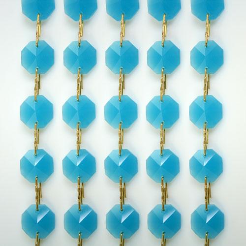 Catena ottagoni 14 mm in cristallo turchese seta, lunghezza 50 cm, clip ottone.