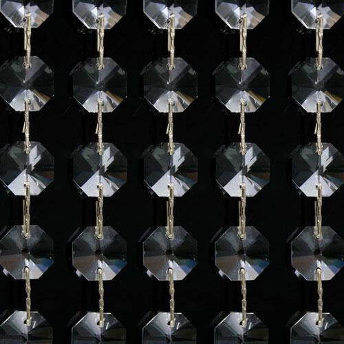 Catena ottagoni 16 mm in cristallo colore puro, lunghezza 50 cm, clip nickel.