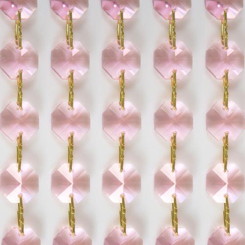 Catena ottagoni 16 mm in cristallo colore rosa, lunghezza 50 cm, clip ottone.