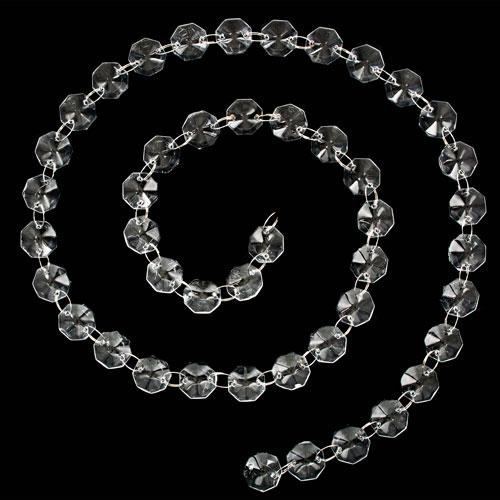 Catena ottagoni 16 mm in vetro color cristallo, lunghezza circa 100 cm, anello brisè nickelato da 10 mm.
