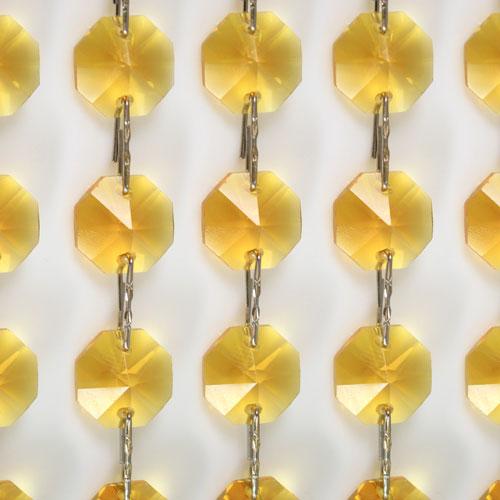 Catena ottagoni 20 mm in cristallo colore giallo, lunghezza 50 cm, clip nickel.