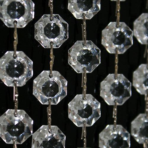 Catena ottagoni 20 mm n vetro veneziano color cristallo, lunghezza 50 cm, clip nickel.