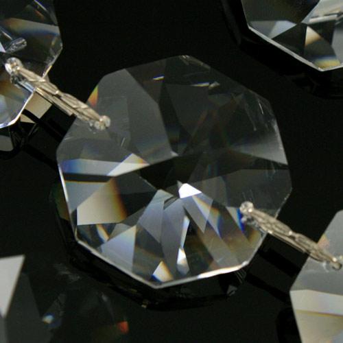 Catena ottagoni 26 mm cristalli Asfour lunga 50 cm, clip nickel.