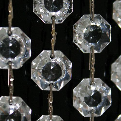 Catena ottagoni 26 mm in vetro veneziano color cristallo, lunghezza 50 cm, clip nickel.