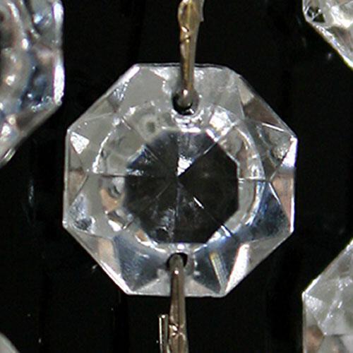 Catena ottagoni 34 mm in vetro veneziano color cristallo, lunghezza 50 cm, clip nickel.
