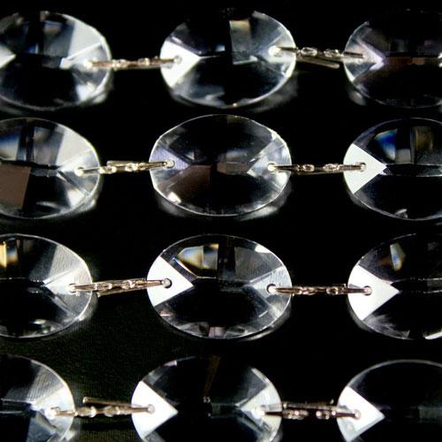 Catena ovalini 20 mm cristallo, 50 cm di lunghezza, colore puro. Clip nickel.
