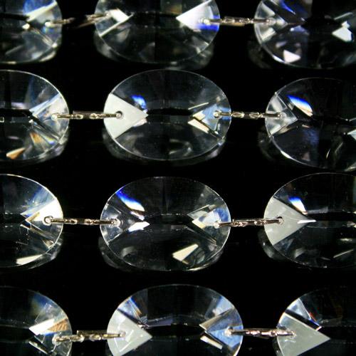 Catena ovalini 22 mm cristallo, 50 cm di lunghezza, colore puro. Clip nickel.