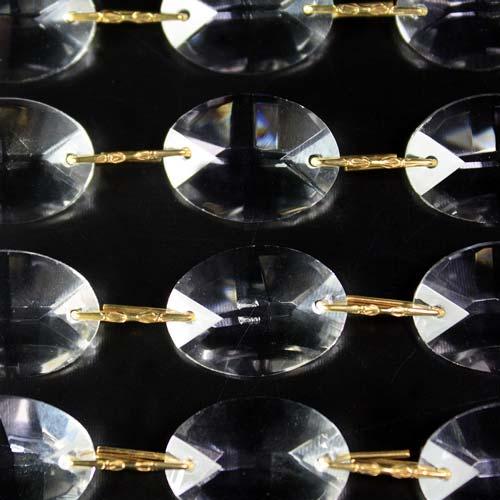 Catena ovalini 22 mm cristallo, 50 cm di lunghezza, colore puro. Clip ottone.
