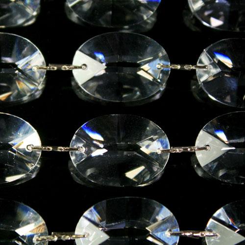 Catena ovalini 24 mm cristallo, 50 cm di lunghezza, colore puro. Clip nickel.