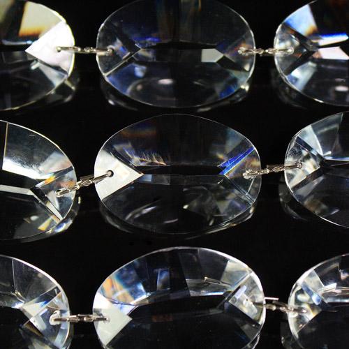 Catena ovalini 26 mm cristallo, 50 cm di lunghezza, colore puro. Clip nickel.