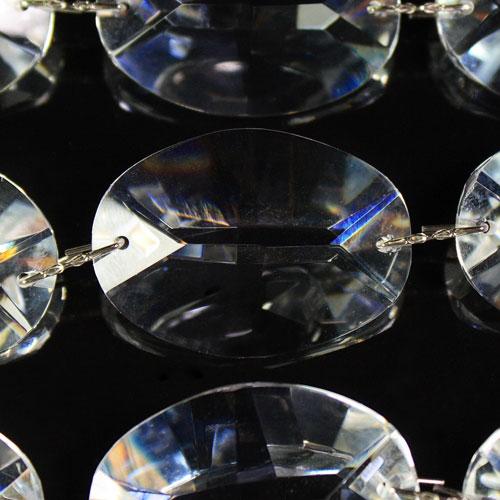 Catena ovalini 30 mm cristallo, 50 cm di lunghezza, colore puro. Clip nickel.