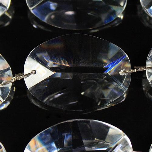 Catena ovalini 32 mm cristallo, 50 cm di lunghezza, colore puro. Clip nickel.