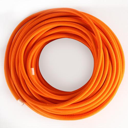 Cavo elettrico tondo isolato in PVC rivestito tessuto arancio. Sezione 3x0,75
