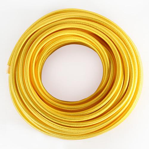 Cavo elettrico tondo isolato in PVC rivestito tessuto giallo. Sezione 3x0,75