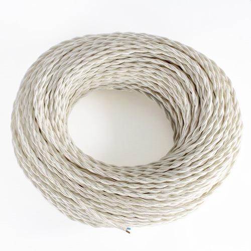 Cavo in PVC sotto treccia tessile color bianco. Sezione 2x0,50