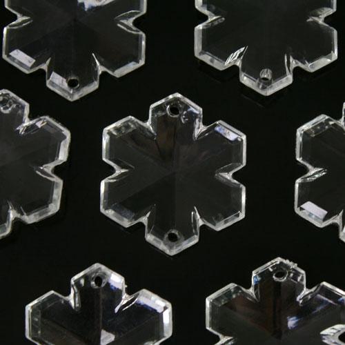 Fiocco di neve 33 mm, cristallo acrilico sfaccettato 2 fori, colore puro