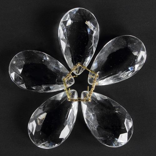 Fiore di cristalli sfaccettati colore cristallo trasparente Ø80 mm con clip oro