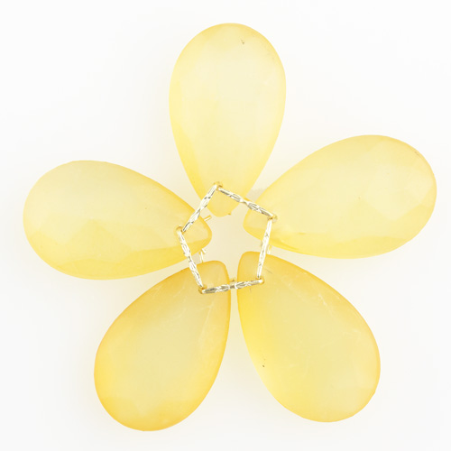 Fiore di cristalli sfaccettati in vetro colore ambra satinato Ø80 mm con clip oro