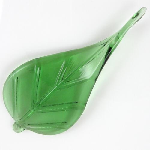 Foglia larga pendente in vetro artigianale color verde