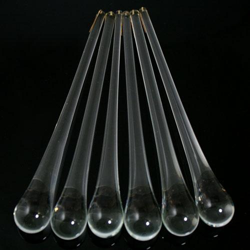 Goccia pendente 16 cm in vetro di Murano trasparente cristallino