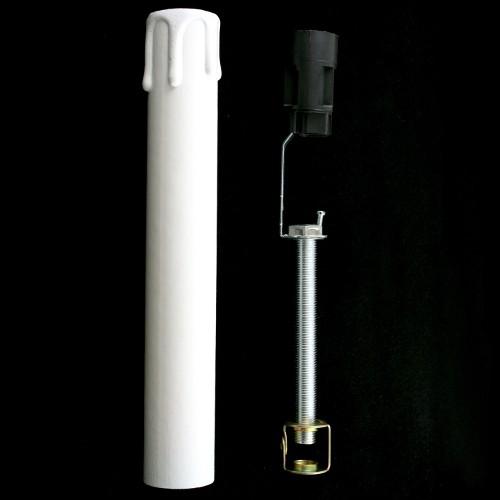 Guscio in cartone h18 cm bianco completo di tige e cavallotto M10x1  per candela portalampada E14