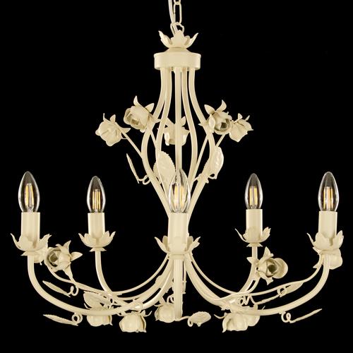 Lampadario chandelier avorio 5 luci, con rose e foglie artigianali in ferro forgiato Made in Italy
