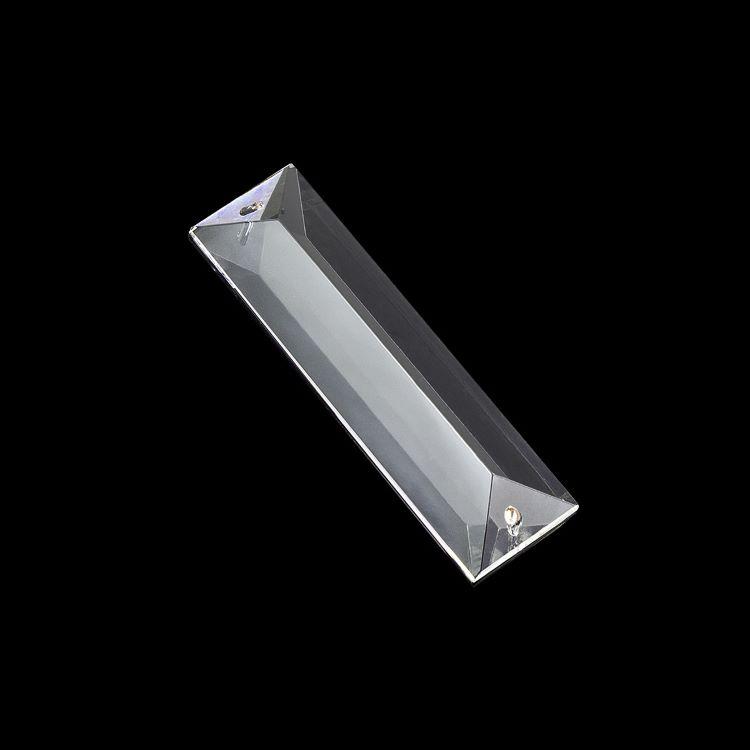 Losanga 76 mm baguette in cristallo molato con doppio foro.