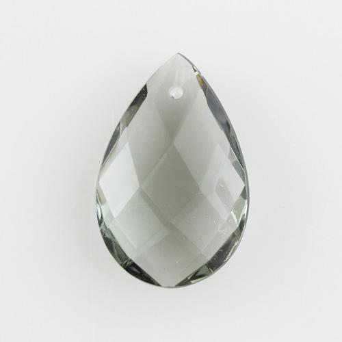 Mandorla goccia in cristallo di Boemia h40 mm colore grigio. Per restaurii lampadari d'epoca.