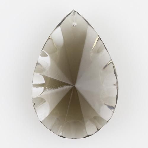 Mandorla in cristallo colorato di Boemia h60 mm fumé. Pendente originale marchio Boemia molato a mano.