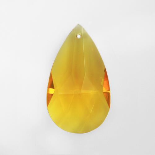 Mandorla pendente 28 mm vetro cristallo molato giallo