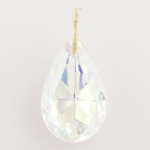 Mandorla pendente 30 mm vetro veneziano colore aurora boreale iridato con clip oro.