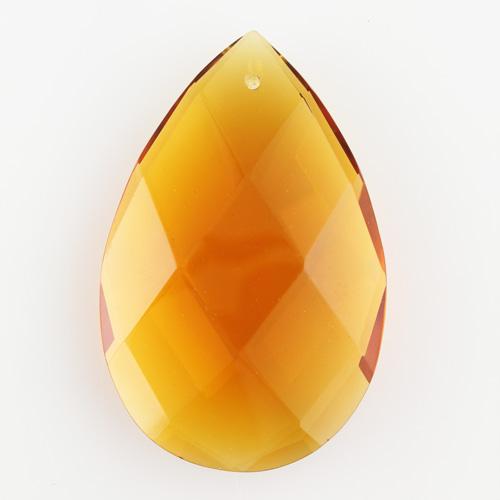 Mandorla pendente h85 mm vetro cristallo di Boemia molato a mano, colore ambra.
