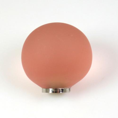Maniglia pomello sfera satinata rosa antico Ø25 vetro di Murano con filettatura M4 femmina