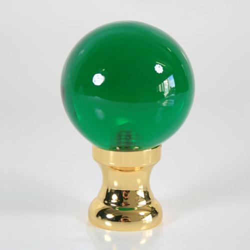 Maniglia pomello sfera verde Ø50 vetro di Murano rocchetto oro.