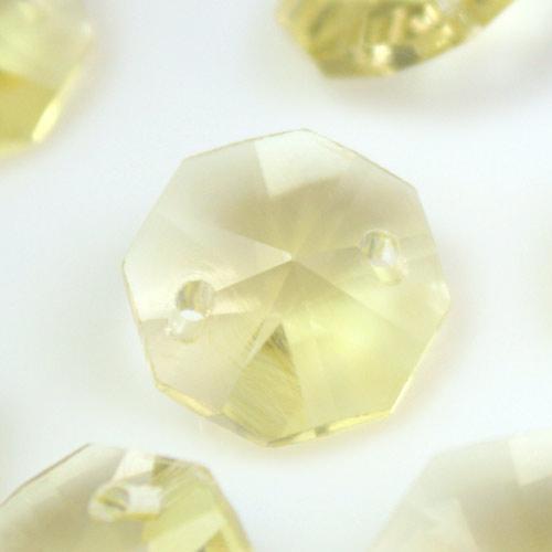 Ottagono 14 mm giallo chiaro vetro cristallo molato 16 facce 2 fori.