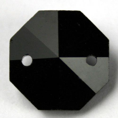 Ottagono 20 mm nero lucente cristallo vetro molato 2 fori