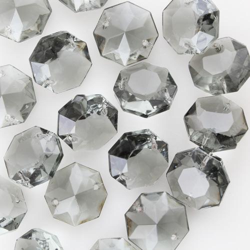 Ottagono 22 mm vetro veneziano colore puro grigio, 2 fori