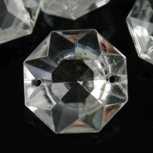 Ottagono 22 mm vetro veneziano colore puro trasparente, 2 fori