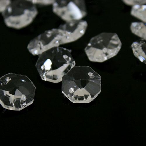 Ottagono cristallo trasparente 14 mm 32 facce a 2 fori