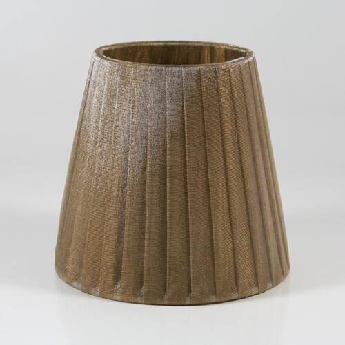Paralume  Ø12 Ø8 h11 cm tronco conico rivestito da organza fume'. Montatura bianca a molla.