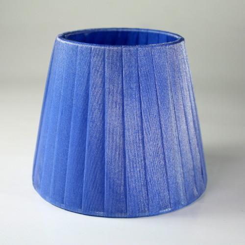 Paralume Ø12 Ø8 h10 cm tronco conico rivestito da velo organza blu zaffiro. Montatura argento a molla.