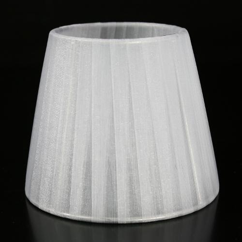 Paralume Ø12 Ø8 h10 cm tronco conico rivestito da velo organza grigio chiaro. Montatura argento a molla.