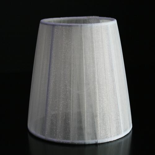Paralume Ø12 Ø8 h12 cm tronco conico rivestito da velo siena avorio. Montatura bianca a molla.