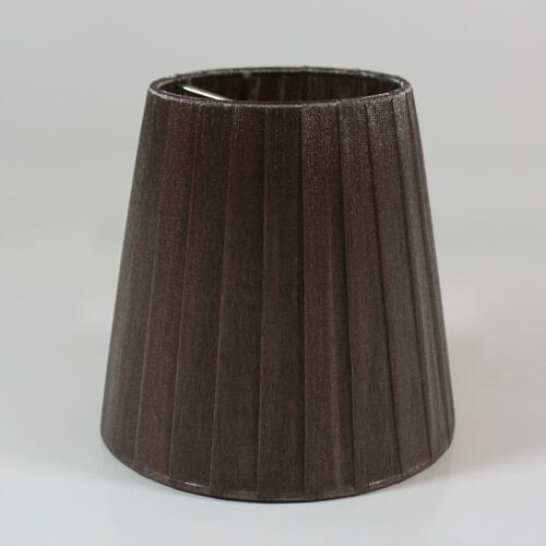 Paralume Ø12 Ø8 h12 cm tronco conico rivestito da velo siena marrone. Montatura nikel a molla.